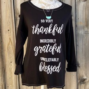 "Sweaters - ""Thankful, Grateful, Blessed"" Graphic Message Top"